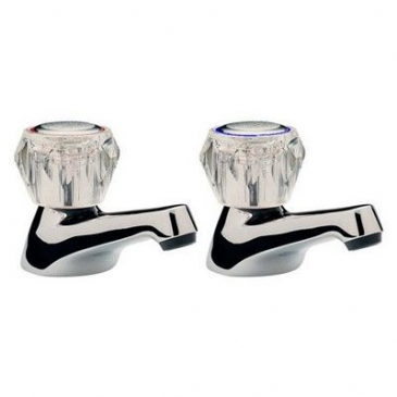 W2980 CHROME BASIN TAPS CLEAR HEADS 1/2""